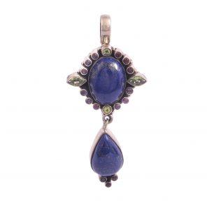 lapis garnet and peridot pendant