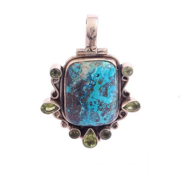 Azurite and Peridot Pendant
