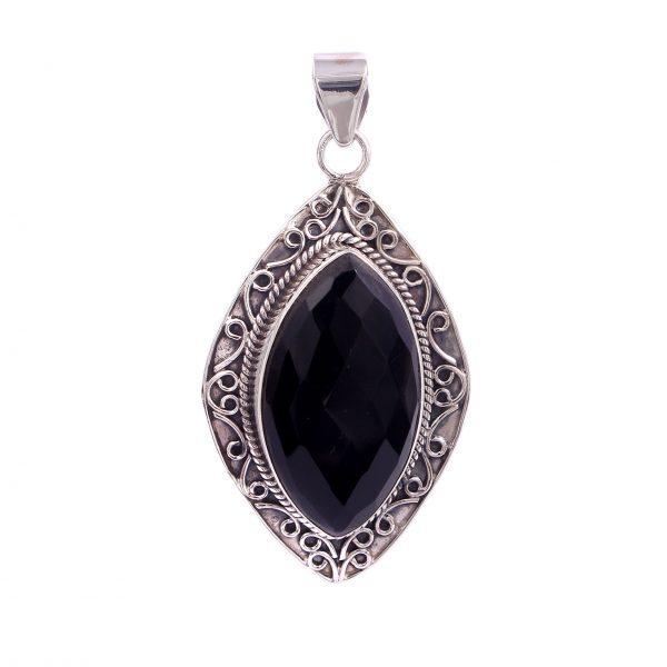 black onyx crystal pendant