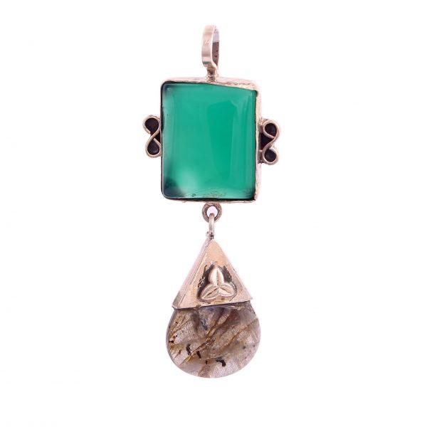 Green Onyx and Labradorite Pendant