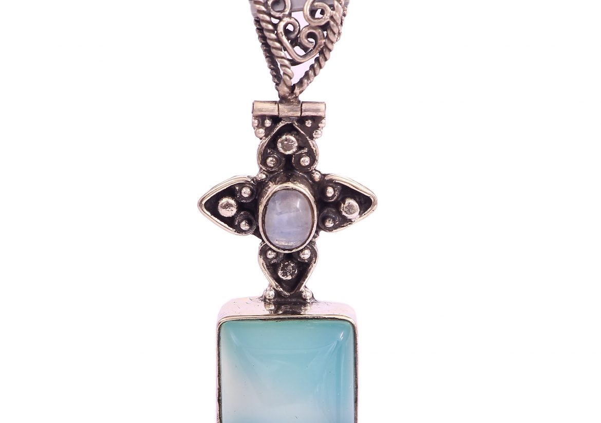 Rainbow Moonstone and Chalcedony Pendant