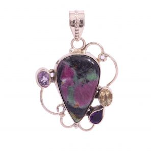 Ruby Ziosite, Amethyst and Citrine Pendant