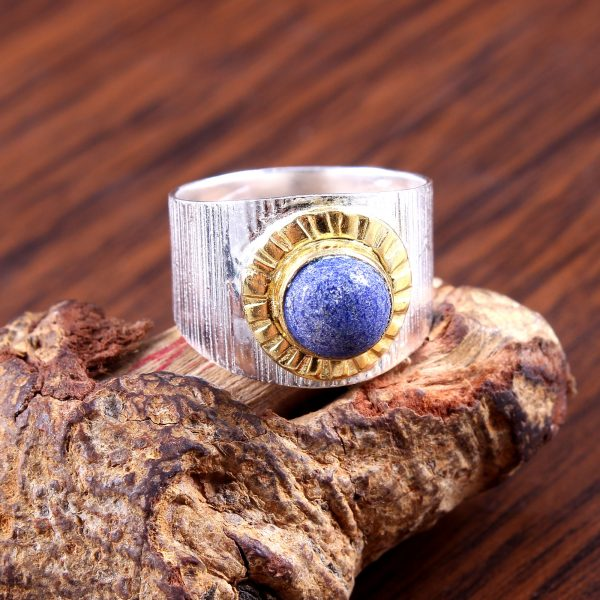 Lapis Two Tone Gold Plated
