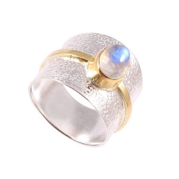 Rainbow Moonstone Two Tone Gold Plated Over 925 Sterling Silver