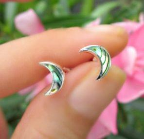 Abalone Crescent Moon Earrings