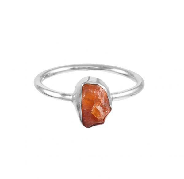 raw carnelian ring